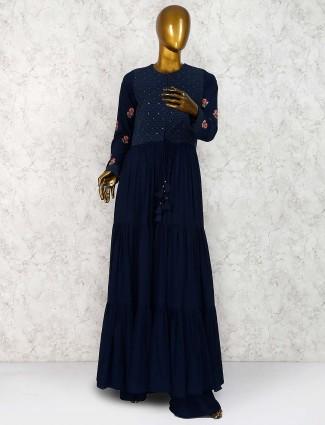 Navy blue georgette festive punjabi sharara suit