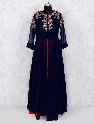 Navy blue georgette party wear lehenga cum salwar suit