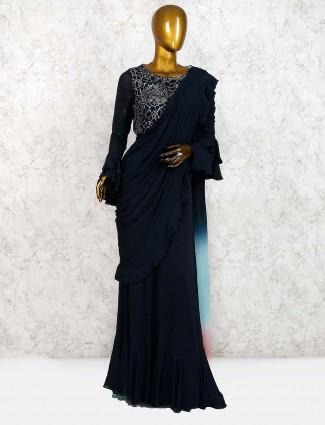 Navy blue georgette saree style indo western salwar suit