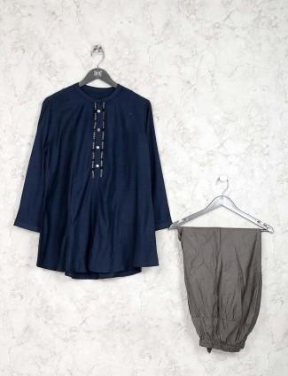 Navy blue kurti set in cotton fabric