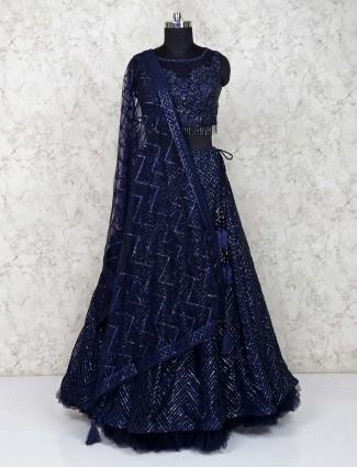 Navy blue party wear georgette bridal lehenga choli
