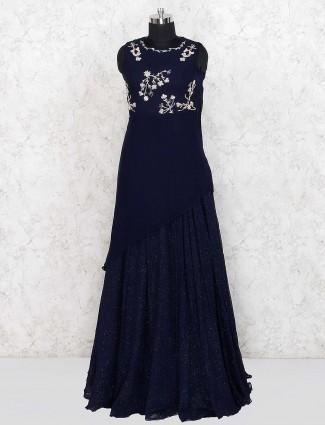 Navy blue party wear georgette floor length gown
