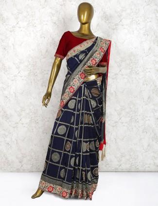 Navy blue pure silk saree