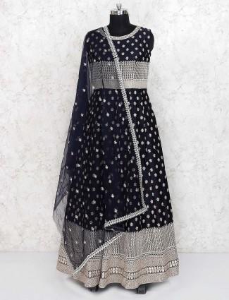 Navy blue raw silk floor length anarkali salwar suit