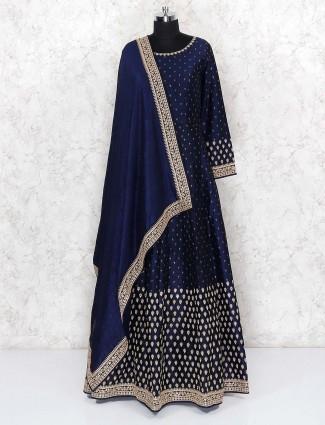 Navy blue raw silk round neck floor length anarkali salwar suit
