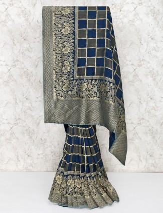 Navy blue silk checks saree
