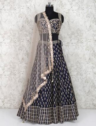 Navy blue silk fabric lehenga choli