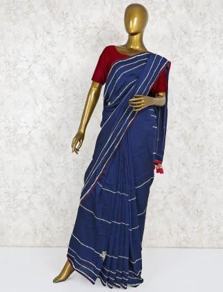 Navy blue wedding semi silk saree