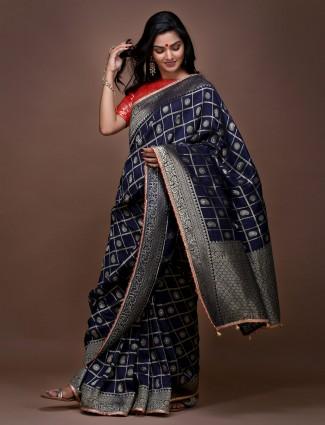 Navy blue wedding wear pure silk saree