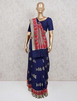 Navy classic silk saree