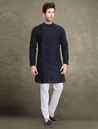 Navy color cotton kurta suit for festive wear