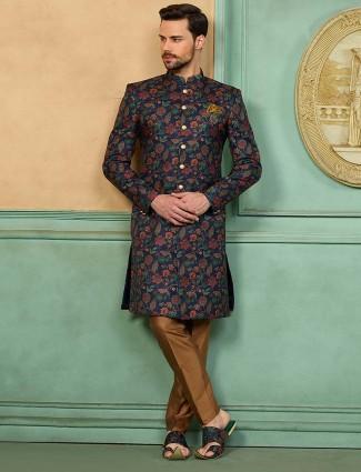 Navy color printed wedding wear sherwani