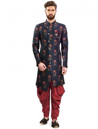 Navy color printed raw silk semi indo western
