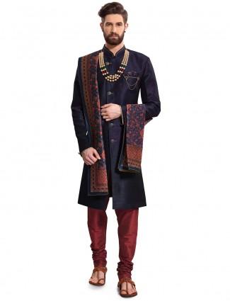 Navy color raw silk wedding wear semi indo western