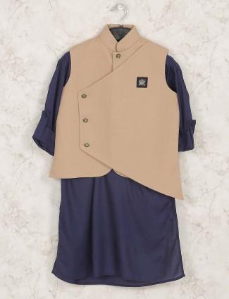 Navy colored cotton silk waistcoat set