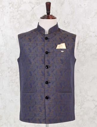 Navy colour silk party wear waistcoat