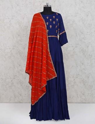Navy cotton floor length anarkali salwar suit