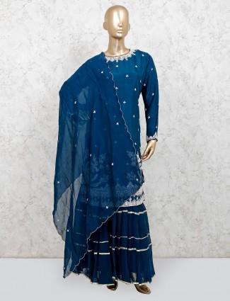 Navy cotton silk festive wear punjabi sharara suit