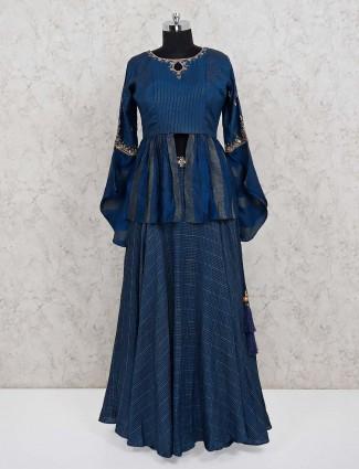 Navy cotton silk peplum lehenga suit