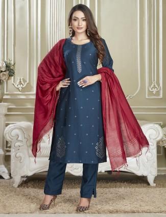 Navy designer cotton punjabi salwar suit for festives