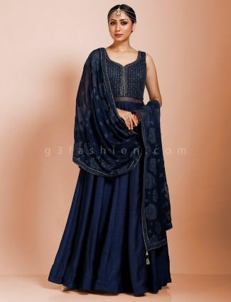 Navy designer floor length raw silk anarkali salwar suit