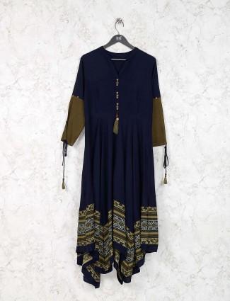 Navy festive wear cotton fabric kurti
