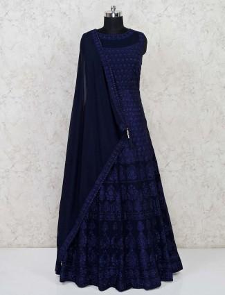 Navy georgette designer floor length gown
