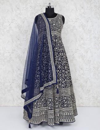 Navy georgette wedding floor length anarkali salwar suit