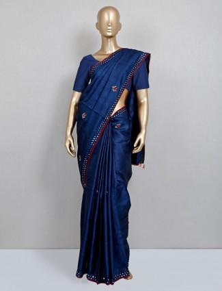 Navy handloom cotton saree for party look