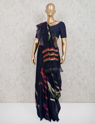 Navy handloom cotton silk sari in festive
