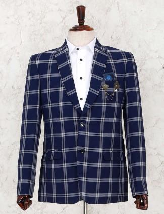 Navy hue checks pattern terry rayon blazer