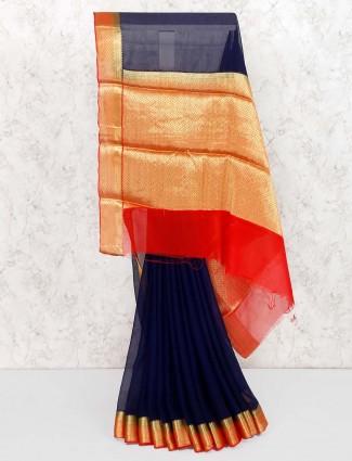 Navy hue festive wear saree in georgette