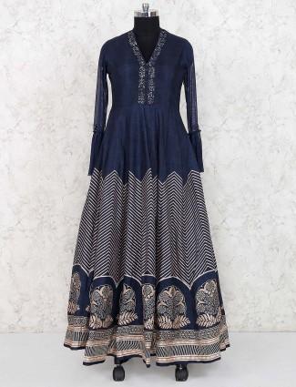 Navy hue raw silk gown