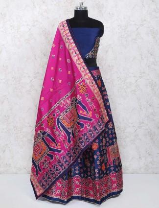 Navy hue semi stitched lehenga choli in cotton silk