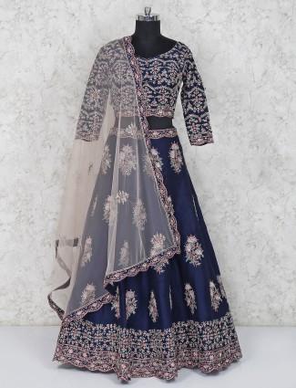 Navy hue silk bridal lehenga choli