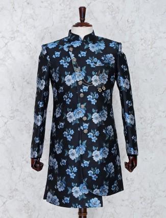 Navy hue silk fabric party wear indo western