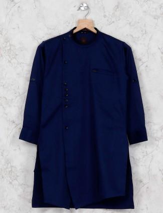 Navy hue solid cotton boys kurta suit