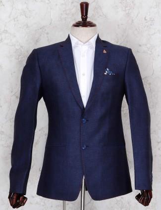Navy hue textured terry rayon blazer