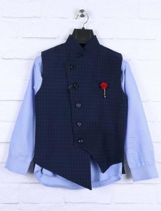 Navy hued checks pattern terry rayon waistcoat set