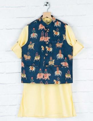 Navy hued printed pattern terry rayon waistcoat set
