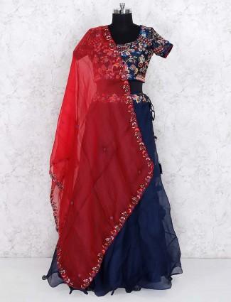 Navy hued raw silk fabric designer lehenga choli
