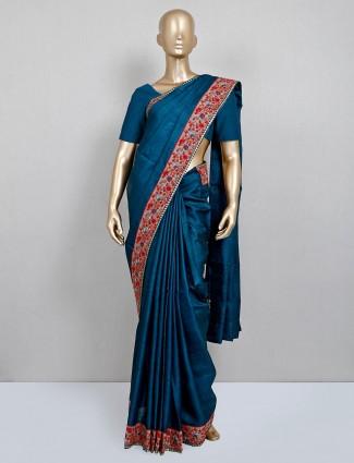 Navy party wear handloom cotton saree