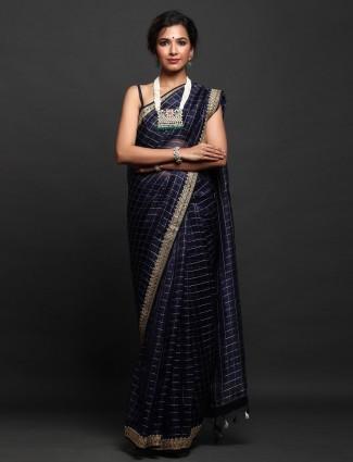 Navy Party Wear orgenza silk designer Saree