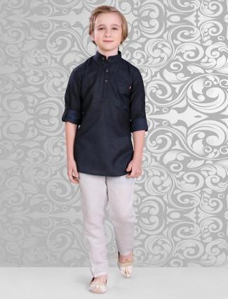 Navy plain cotton festive wear pathani suit
