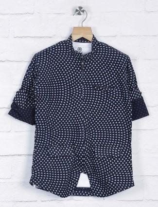 Navy printed cotton fabric blazer