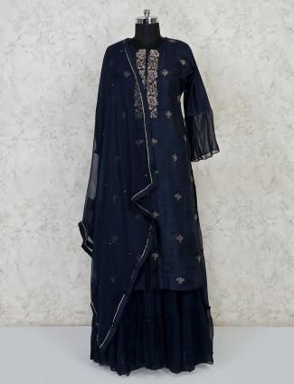 Navy raw silk festive wear punjabi lehenga suit