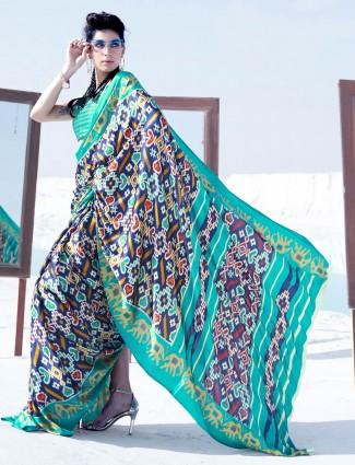 Navy satin printed saree for festival season