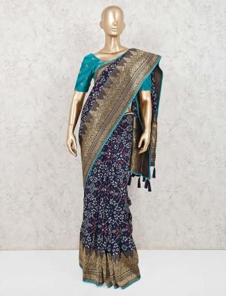 Navy semi silk printed saree