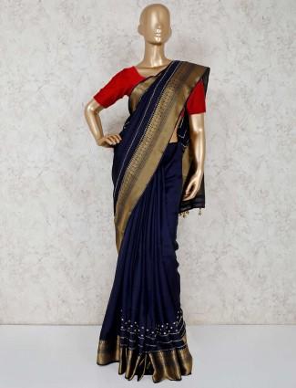 Navy semi silk simple saree