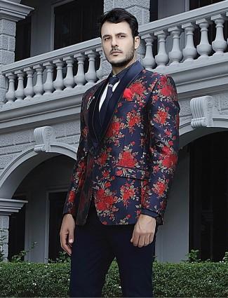 Navy silk fabric thread and zari weaving coat suit